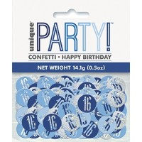 Blue/Silver Glitz Foil Age 16 Confetti 0.5 oz