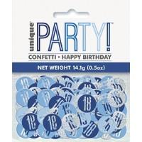 Blue/Silver Glitz Foil Age 18 Confetti 0.5 oz