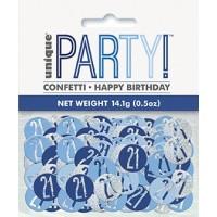 Blue/Silver Glitz Foil Age 21 Confetti 0.5 oz