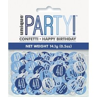 Blue/Silver Glitz Foil Age 40 Confetti 0.5 oz