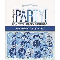 Blue/Silver Glitz Foil Age 50 Confetti 0.5 oz
