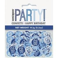 Blue/Silver Glitz Foil Age 60 Confetti 0.5 oz