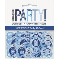 Blue/Silver Glitz Foil Age 80 Confetti 0.5 oz