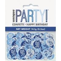 Blue/Silver Glitz Foil Age 90 Confetti 0.5 oz