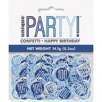 Blue/Silver Glitz Foil Age 100 Confetti 0.5 oz