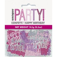 Pink/Silver Glitz Foil Happy Birthday Confetti 0.5 oz
