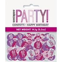 Pink/Silver Glitz Foil Age 18 Confetti 0.5 oz