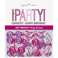 Pink/Silver Glitz Foil Age 21 Confetti 0.5 oz