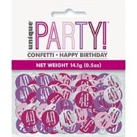 Pink/Silver Glitz Foil Age 40 Confetti 0.5 oz