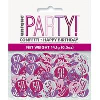 Pink/Silver Glitz Foil Age 50 Confetti 0.5 oz