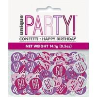 Pink/Silver Glitz Foil Age 60 Confetti 0.5 oz