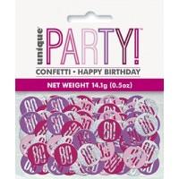 Pink/Silver Glitz Foil Age 80 Confetti 0.5 oz
