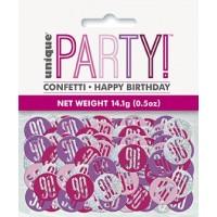 Pink/Silver Glitz Foil Age 90 Confetti 0.5 oz