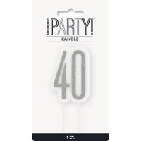 Black/Silver Glitz Age 40 Glitter Birthday Candle