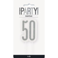 Black/Silver Glitz Age 50 Glitter Birthday Candle