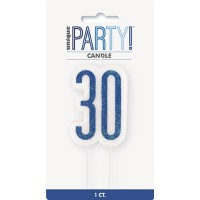 Blue/Silver Glitz Age 30 Glitter Birthday Candle