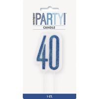 Blue/Silver Glitz Age 40 Glitter Birthday Candle