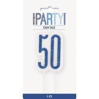 Blue/Silver Glitz Age 50 Glitter Birthday Candle