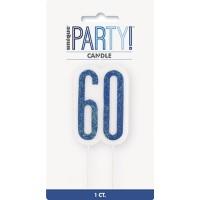 Blue/Silver Glitz Age 60 Glitter Birthday Candle