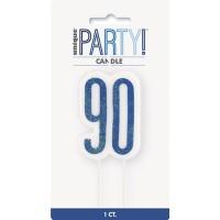 Blue/Silver Glitz Age 90 Glitter Birthday Candle