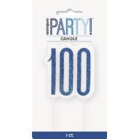 Blue/Silver Glitz Age 100 Glitter Birthday Candle