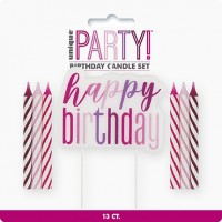 Pink/Silver Glitz Happy Birthday Candle Set