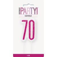 Pink/Silver Glitz Age 70 Glitter Birthday Candle