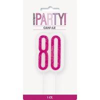 Pink/Silver Glitz Age 80 Glitter Birthday Candle