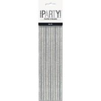 Black/Silver Glitz Foil Paper Straws 10ct