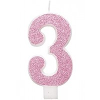 "Pink Numeral ""3"" Glitz Birthday Candles 6ct"