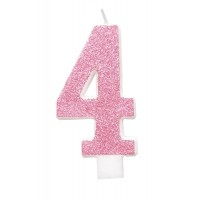 "Pink Numeral ""4"" Glitz Birthday Candles 6ct"
