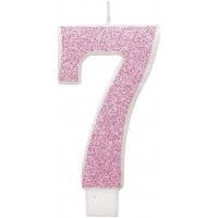 "Pink Numeral ""7"" Glitz Birthday Candles 6ct"