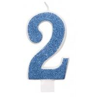 "Blue Numeral ""2"" Glitz Birthday Candles 6ct"