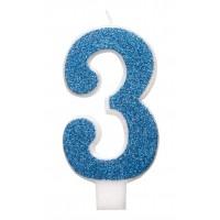 "Blue Numeral ""3"" Glitz Birthday Candles 6ct"