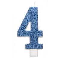 "Blue Numeral ""4"" Glitz Birthday Candles 6ct"
