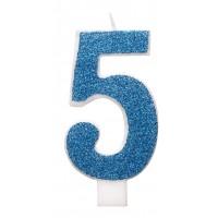 "Blue Numeral ""5"" Glitz Birthday Candles 6ct"
