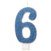 "Blue Numeral ""6"" Glitz Birthday Candles 6ct"