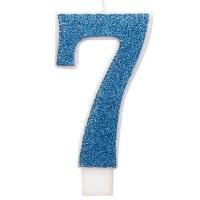 "Blue Numeral ""7"" Glitz Birthday Candles 6ct"