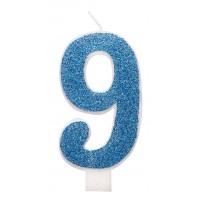 "Blue Numeral ""9"" Glitz Birthday Candles 6ct"