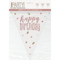Rose Gold Glitz Happy Birthday Prism Flag Banner 9ft
