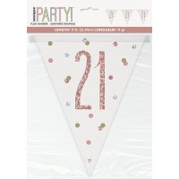Rose Gold Glitz Age 21 Prism Flag Banner 9ft