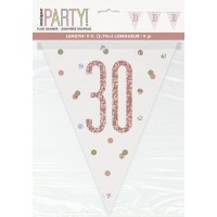 Rose Gold Glitz Age 30 Prism Flag Banner 9ft