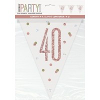 Rose Gold Glitz Age 40 Prism Flag Banner 9ft