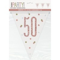 Rose Gold Glitz Age 50 Prism Flag Banner 9ft
