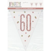 Rose Gold Glitz Age 60 Prism Flag Banner 9ft