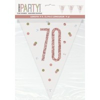 Rose Gold Glitz Age 70 Prism Flag Banner 9ft
