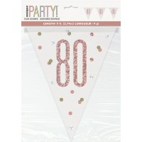 Rose Gold Glitz Age 80 Prism Flag Banner 9ft