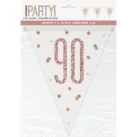 Rose Gold Glitz Age 90 Prism Flag Banner 9ft