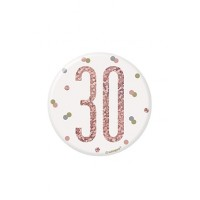 "Rose Gold Glitz Foil Age 30 Badge 3"" 1CT"