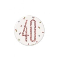 "Rose Gold Glitz Foil Age 40 Badge 3"" 1CT"